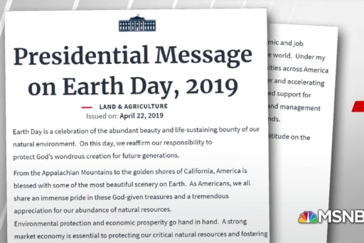 No mention of climate change in Trump's Earth Day message