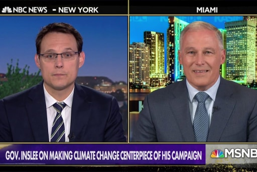 Gov. Inslee: 'Proud to carry flag' of climate change candidate