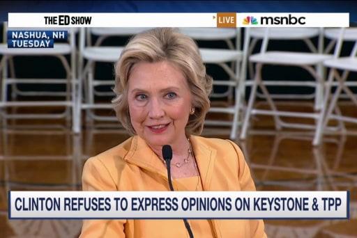 Clinton deflects Keystone, TPP