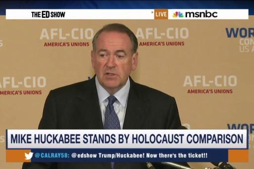 Trump 'OK' with Huckabee's Holocaust analogy