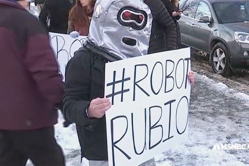 'Robot Rubio' protestors in NH