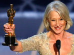 Helen Mirren shows her Oscar for best actress at the 79th Annual Academy Awards in Hollywood