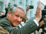 File photo of Russian President Yeltsin waving from the Russian Parliament in Moscow