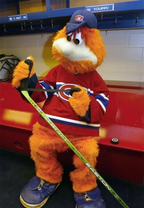 Youppi! Playing hockey?
