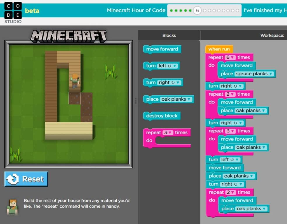 Hour Of Code Lures Kids To Computer Science With Minecraft Theme
