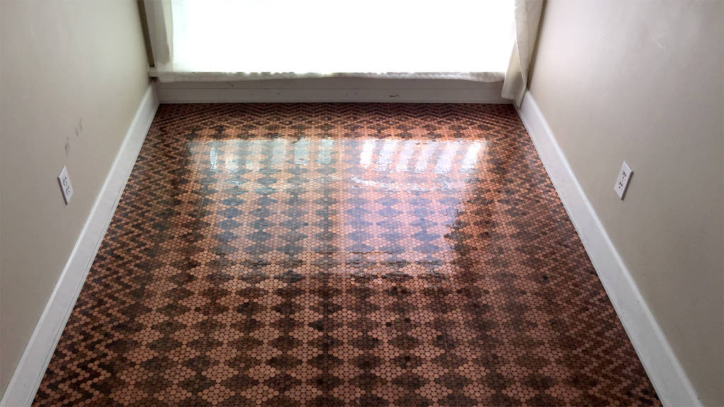 This Diy Floor Was Made Out Of Pennies