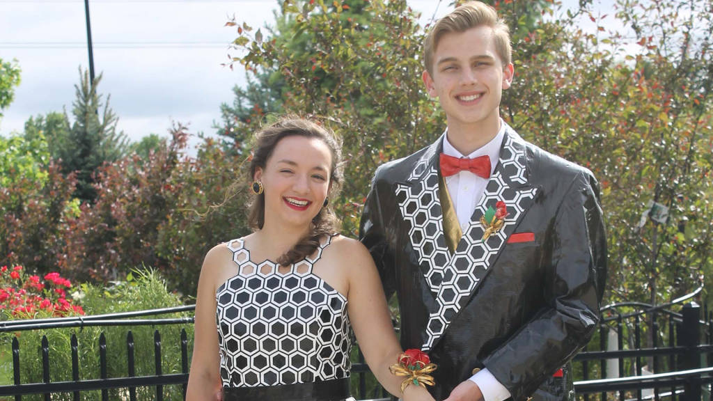 See the stunning prom dress and tuxedo made entirely of Duck Tape
