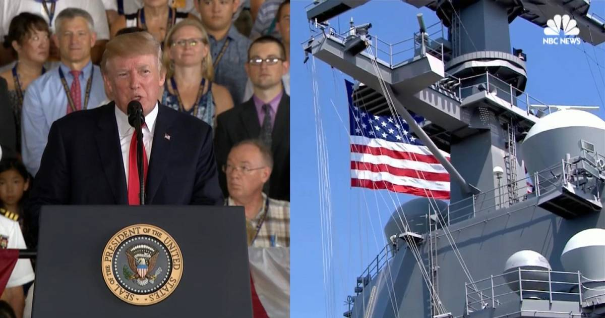 Trump Commissions Uss Gerald R Ford Warship At Patriotic