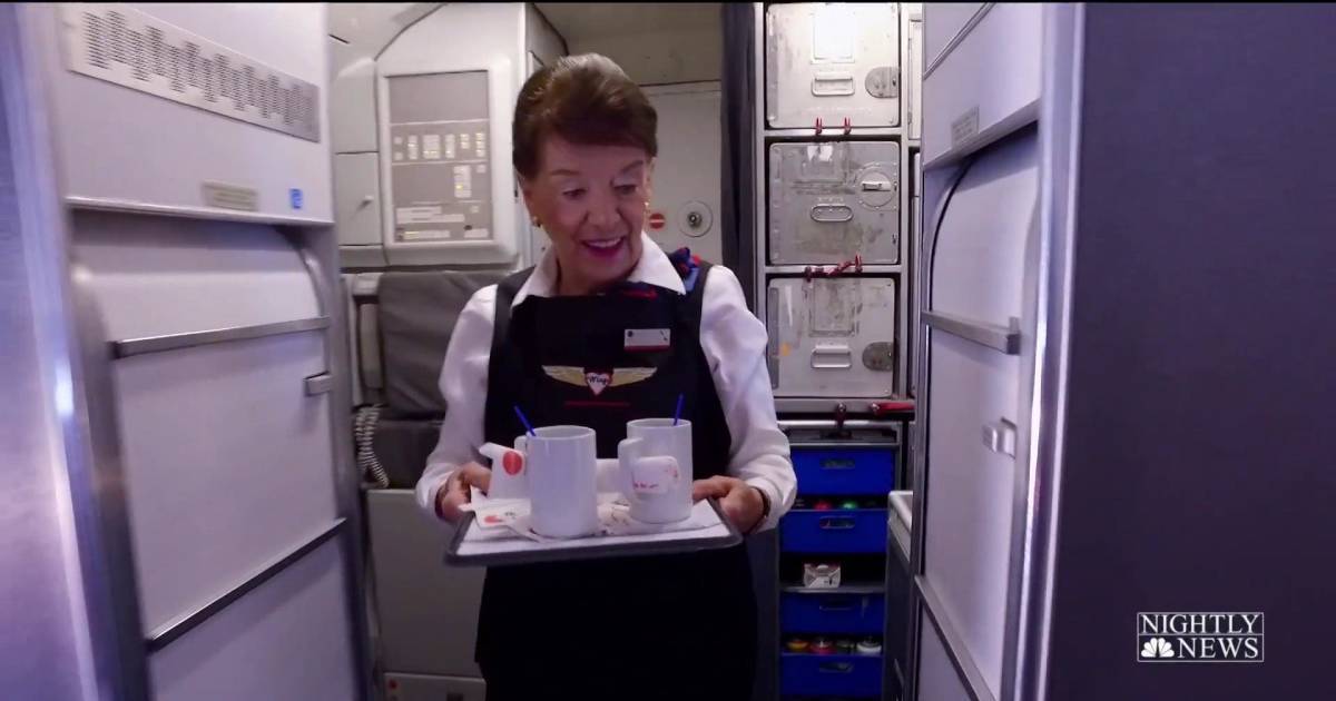 This flight attendant has been on