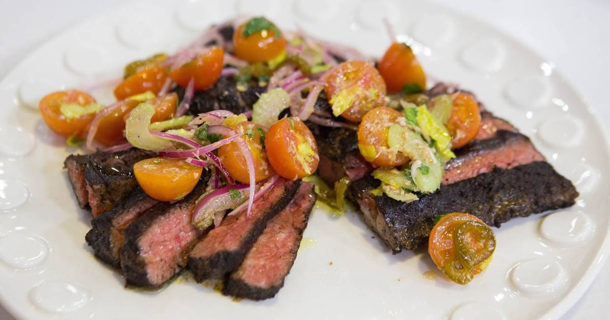 Make Bobby Flay's delicious (but healthy!) skirt steak and sweet potatoes
