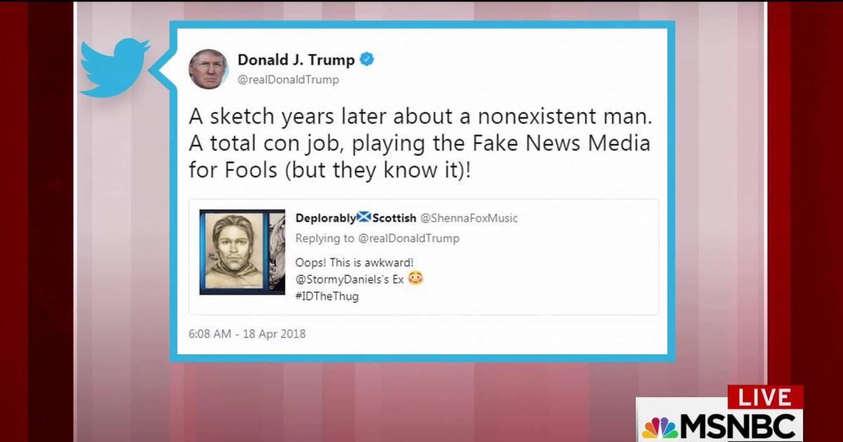trump tweets sketch from stormy daniels a total con job