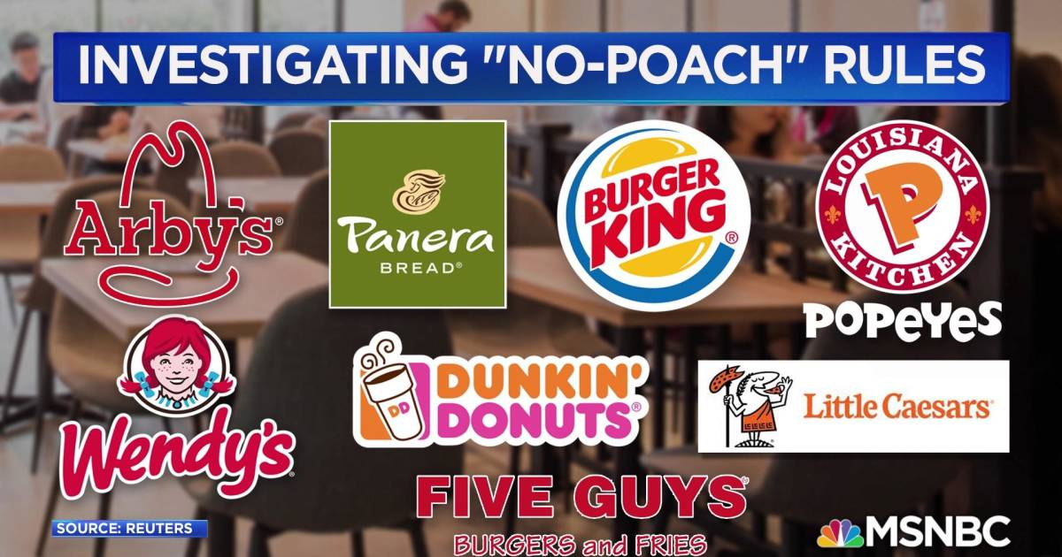 'No-poach' rules at fast food chains being investigated