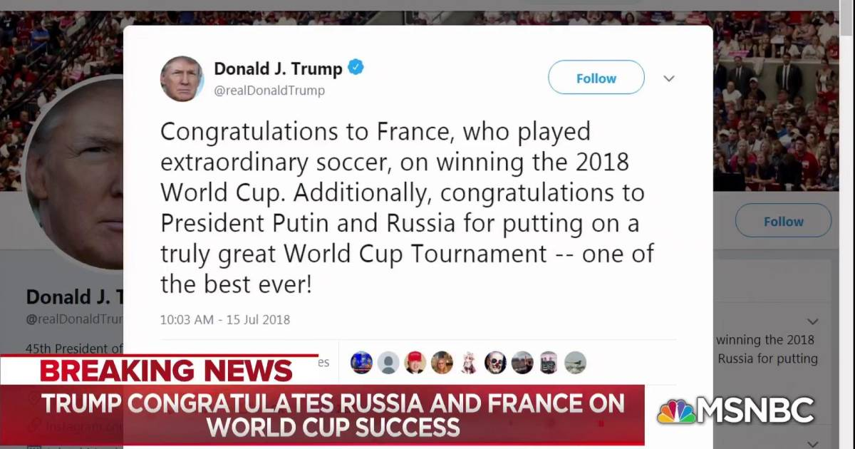 Trump congratulates France for World Cup win, Russia for hosting