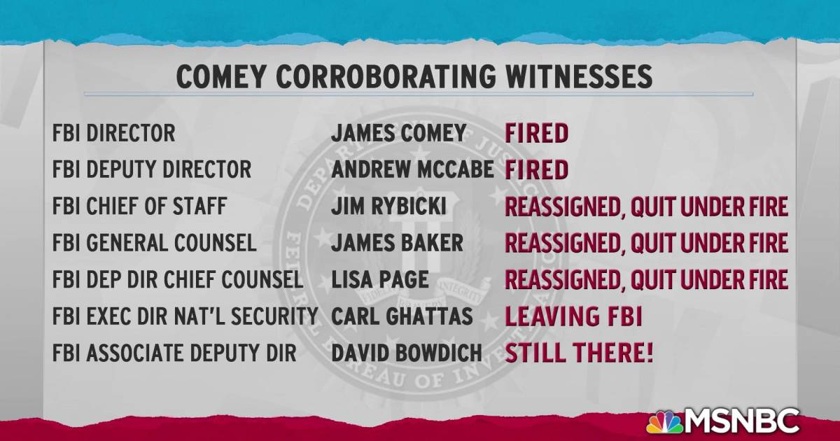 Trump team destroying careers of Comey witnesses one by one