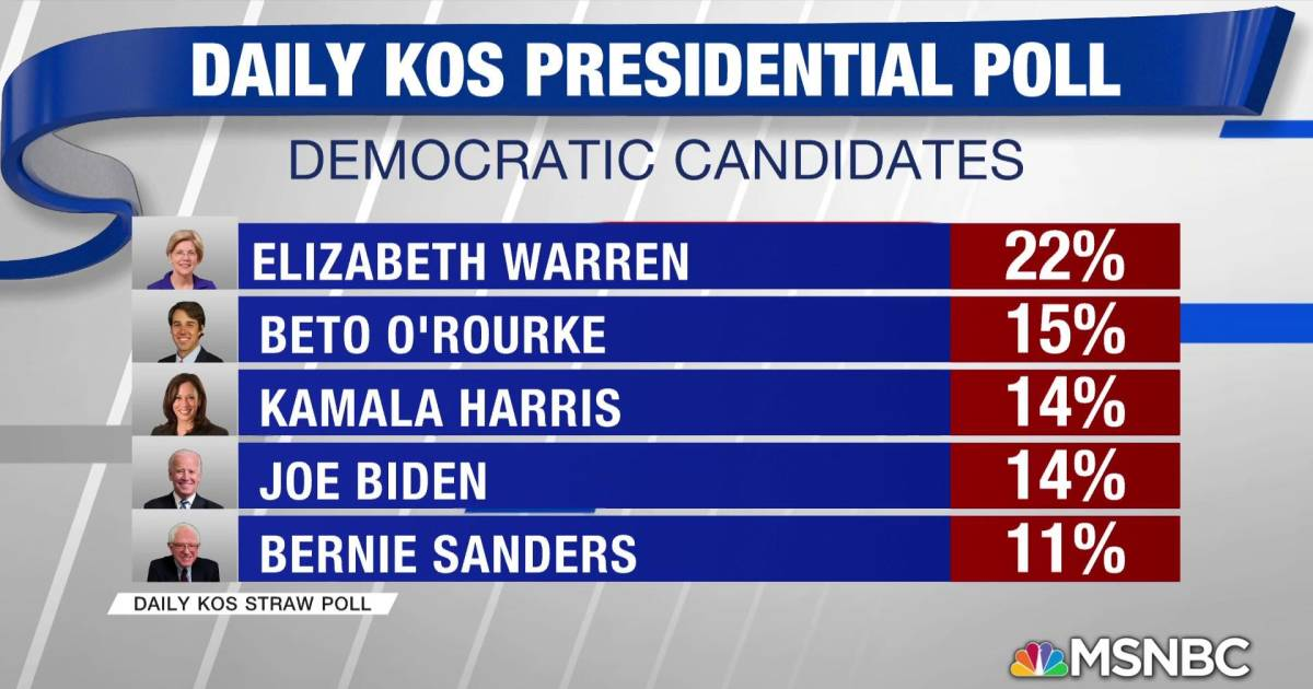 Elizabeth Warren tops Daily Kos 2020 straw poll