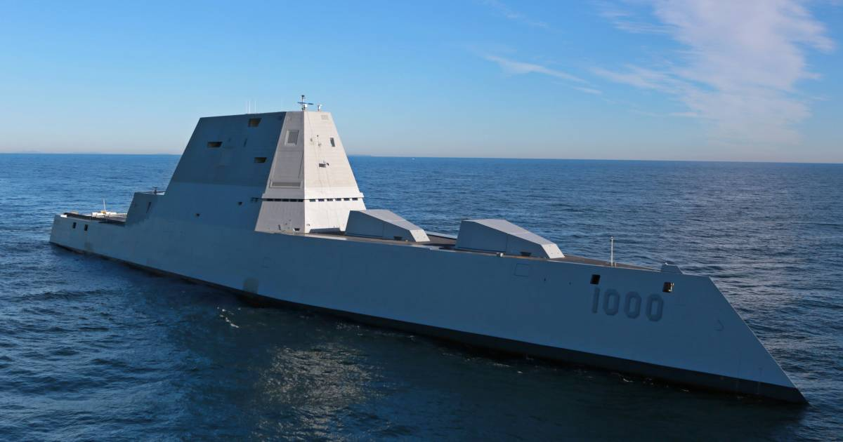 U.S. Navy's Largest Destroyer Ever Heads Out to Sea for First Time