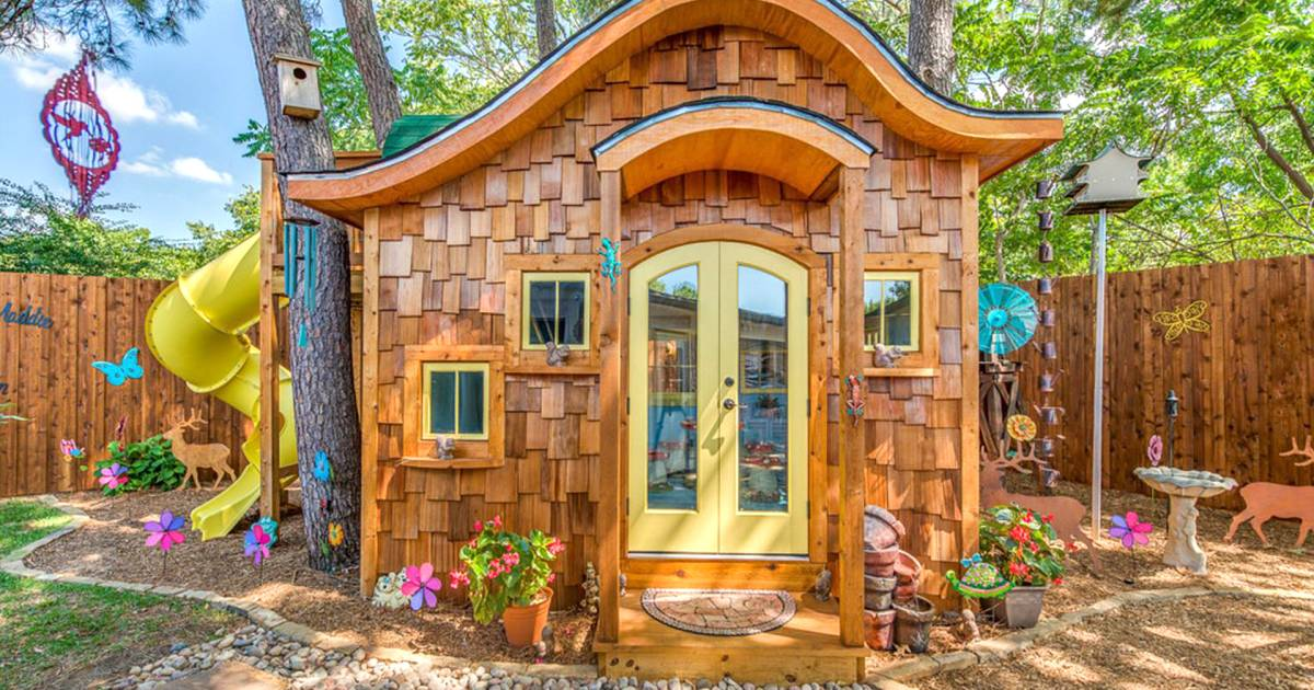 Take a tour inside this hobbit inspired backyard playhouse for Hobbit style playhouse