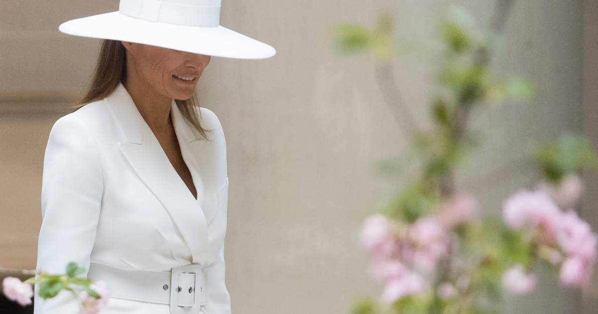 Melania Trump's white hat turns before French state dinner