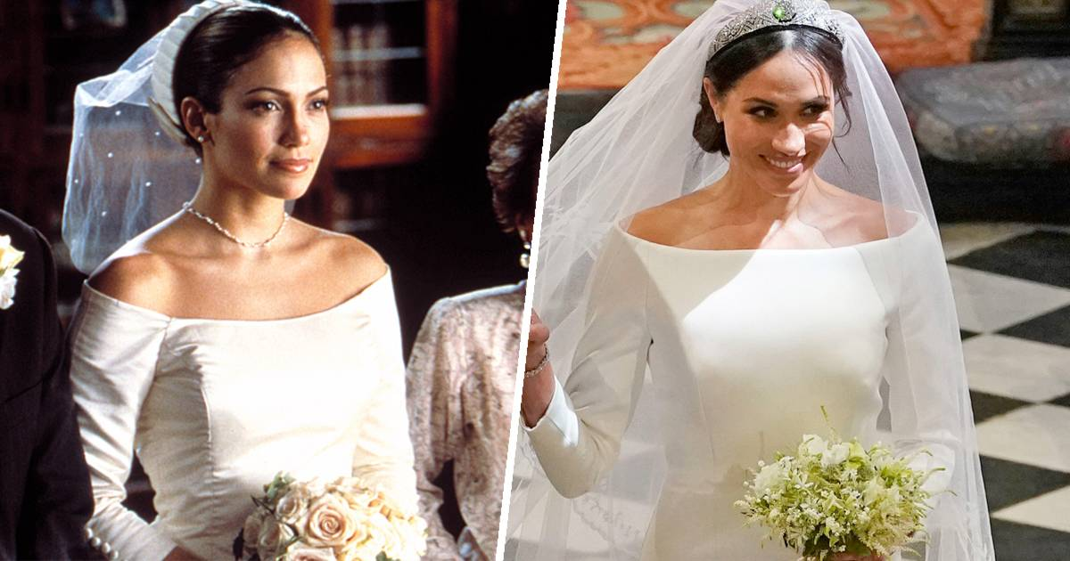 Meghan markle39s dress looked like jlo39s from 39the wedding for Jlo wedding dress