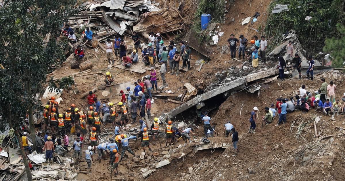 typhoon mangkhut triggers landslide in philippines