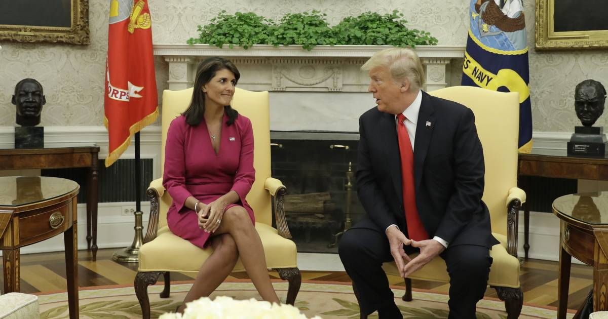 Haley resigns as Trump ambassador to U.N., catches officials off guard