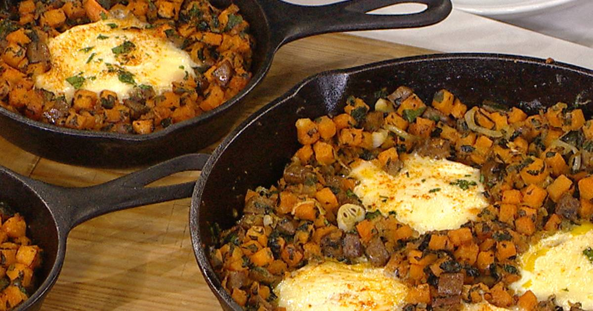 Brunch is served! One-skillet sausage and sweet potato hash with baked eggs