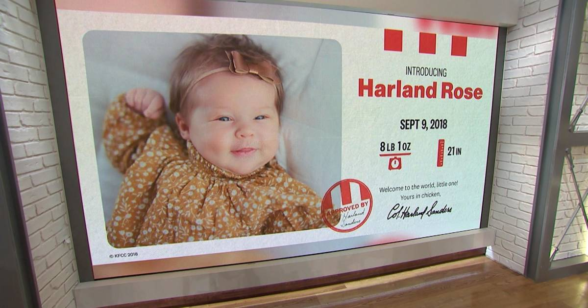 KFC gives parents $11K for naming newborn after Colonel Sanders