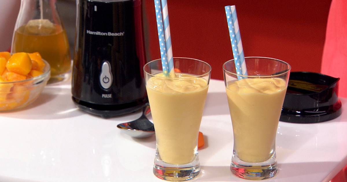 Try Joy Bauer's mango and green tea smoothie for a tasty energy boost