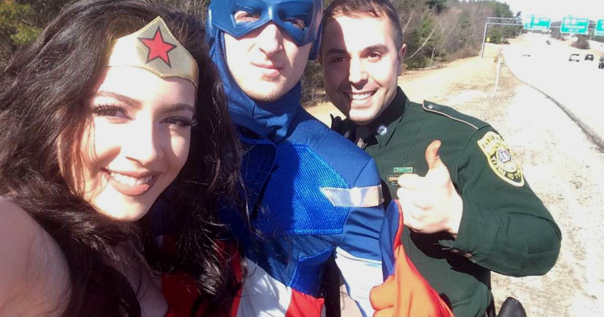 Trooper to the rescue: Cop drives stranded superheroes to boy's birthday party