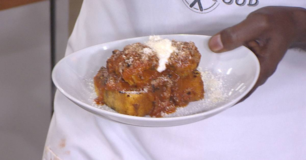 Marcus Samuelsson's grilled meatballs, charred tomato sauce are perfect for summer