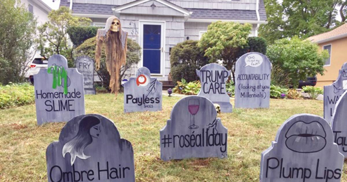 dad makes gravestones for dying trends as halloween display