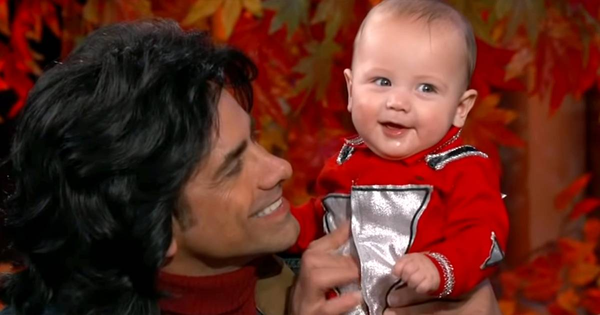 John Stamos brought his 'most beautiful' baby boy to 'Kimmel' for Halloween