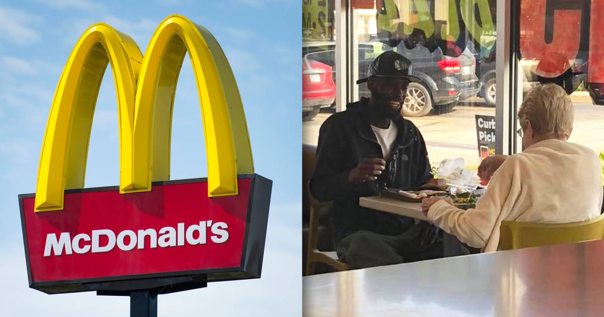 Photo of 2 strangers sharing a meal at McDonald's goes viral for the sweetest reason