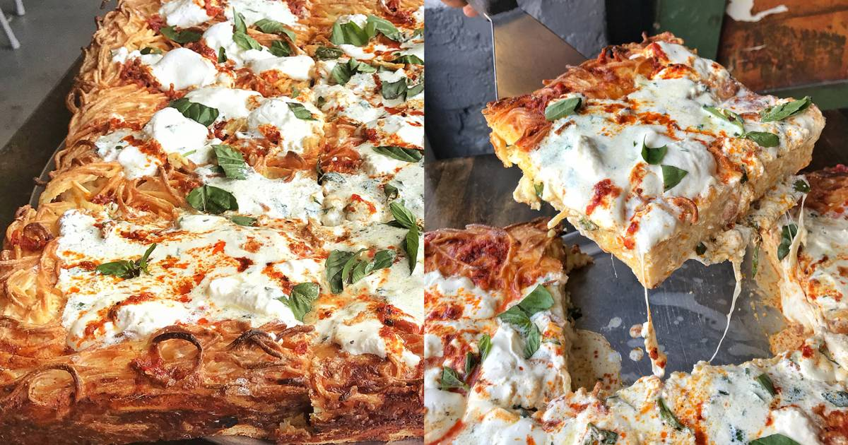 The crust of this insanely delicious pizza is made out of spaghetti