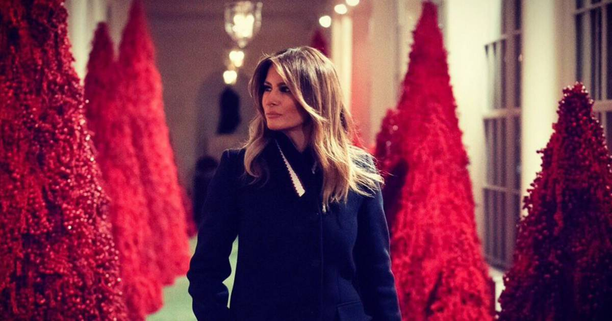 Melania Trump Defends Red White House Christmas Trees