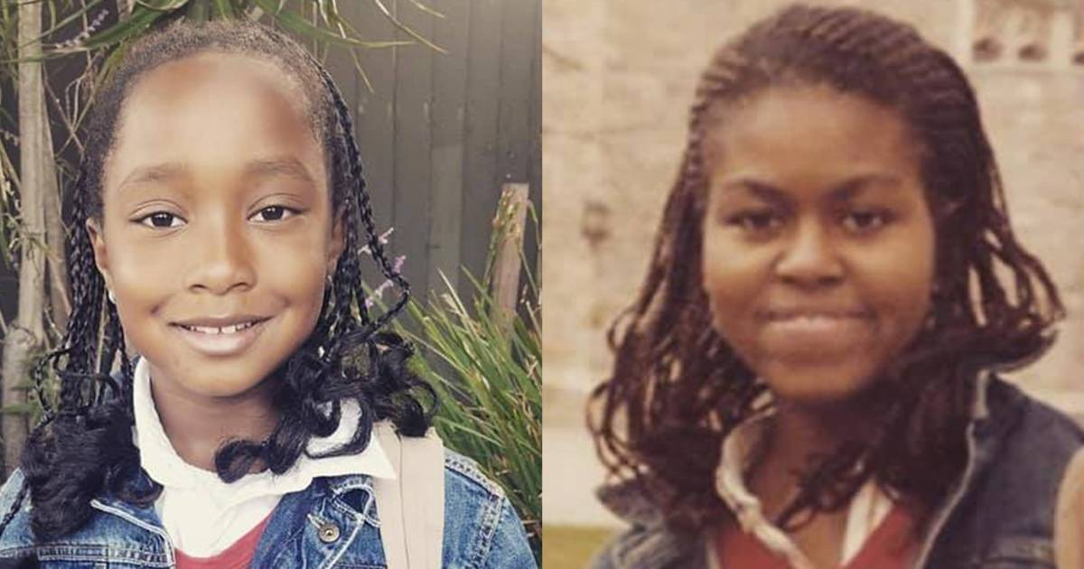 8-year-old dresses as a young Michelle Obama and catches her hero's attention