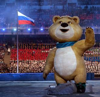 An Olympic mascot waves during the Opening Ceremony of the Sochi 2014 Winter Olympics at Fisht Olympic Stadium on Feb. 7 in Sochi, Russia.