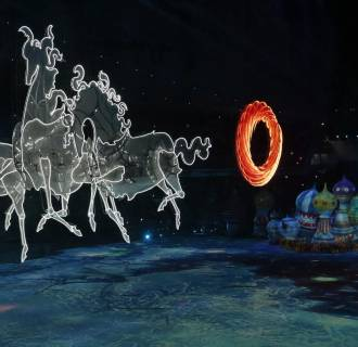 Image: Horses are lit up during the opening ceremony