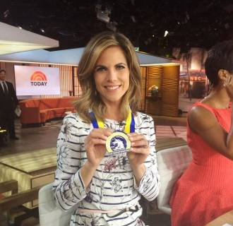"Image: Natalie Morales talks about her emotional day running in the Boston Marathon, and finishing ""Boston Strong."""