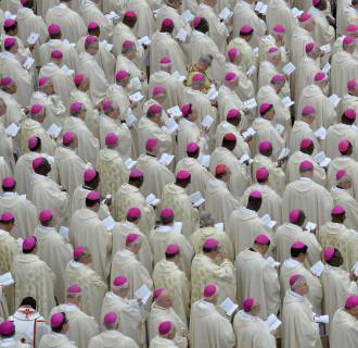 Image: Bishops attend the canonization mass of Popes John XXIII and John Paul II
