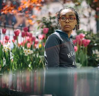 Image: Onieka O'Kieffe poses a for a portrait in Midtown, Manhattan, on May 7, 2014.