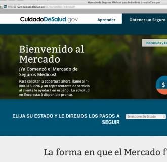 Image: The Department of Health and Human Services' web page for the Spanish language version HealthCare.gov