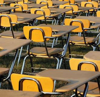 Image: Empty school desks