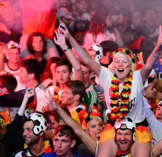 Image: German fans react as Germany score