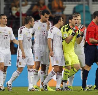 Image: Spanish players during loss to the Netherlands