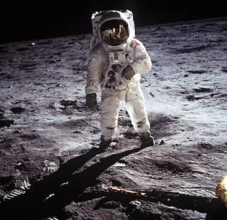 Image: Astronaut Edwin E. Aldrin Jr. walks near the Lunar Module during the Apollo 11 extravehicular activity on the Moon
