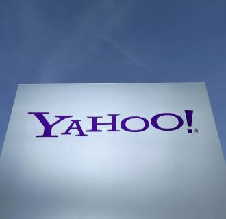 Image: A Yahoo logo is pictured in front of a building in Rolle