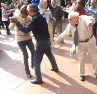 Image: Grandpa throws down canes, busts a move