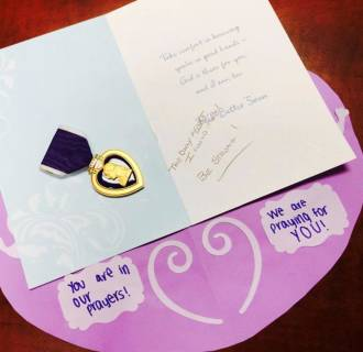 Image: An anonymous veteran sent a Purple Heart to a wounded Wisconsin 12-year-old girl