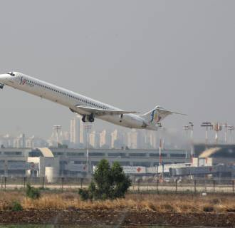 A Fly Romania aircraft takes off from Ben Gurion Airport outside Tel Aviv on July 22.